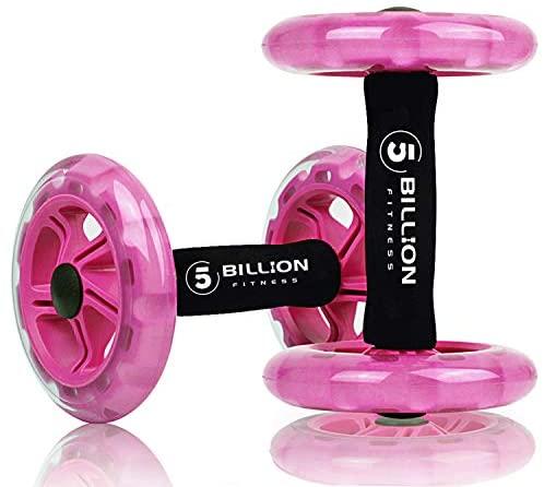 5BILLION AB Wheel Roller & Rueda Abdominal – Double AB Wheel – Entrenamiento para Abs, Espalda, Brazos, Hombros, Torso, Caderas – Libre Cojín del Arrodillamiento