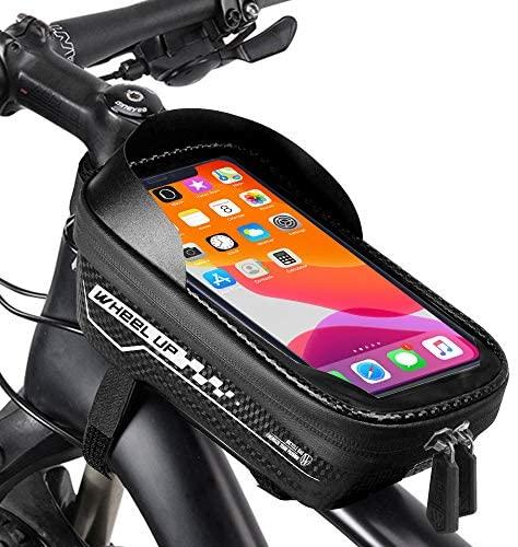 Aiooy Bike Frame Bag,Bolsas de Bicicleta, Bolsa Táctil Bicicleta Impermeable,Cremallera Doble Viseras y Pantalla táctil TPU, Bolsa para Cuadro Bicicleta para Teléfono Movil Dentro de 6,5 Pulgadas