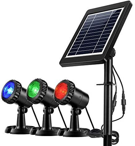 Ankway Focos LED solares IP68 a Prueba de Agua Lámpara Solar bajo el Agua El Foco de energía Solar al Aire Libre 3 focos Decorativos en el jardín Pool Pond Yard (Rojo, Verde, Azul)