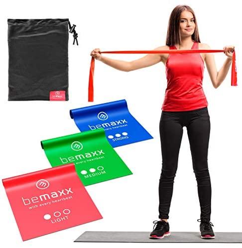 Bandas Elásticas Set de 3 Resistencias / Cintas Extra Largas 2m + eBook Guía de Ejercicios  Mini Fitness Bands Kit  Látex Natural Gomas Crossfit Gimnasia Pilates Glúteos Boxeo Rehabilitacion