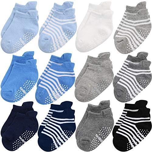 Calcetines Antideslizantes Para Bebés y Niños Pequeños – Empuñaduras Ergonómicas Antideslizantes Para Niños Niñas – 12-36 Meses Conjunto de Calcetines de Algodón Suave y Transpirable (Blue Craft)