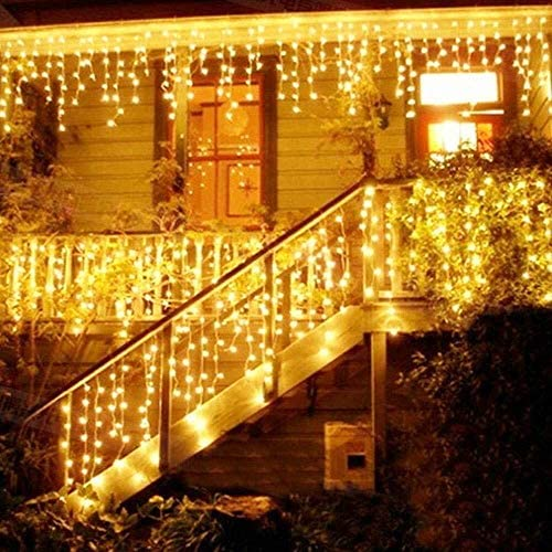 Cortina de Luces, Luz Cadena, Luz de Cortina, LED Guirnaldas luminosas, Cadena De Luces,216 LED 5M Luces LED, 8 Modos de Luz Perfecto para Decoración de Navidad, Fiestas, Casa,Jardín,Blanco Cálido