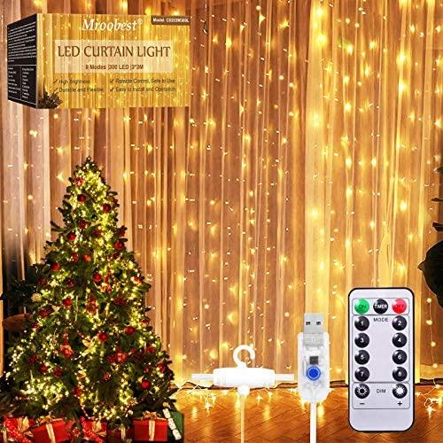 Cortina de Luces, Luz de Cortina, Luces de Cadena de Cortina, 3M x 3M LED Navidad Guirnaldas luminosas, 8 Modos de Luces, Resistente al Agua, para Decoración de Navidad, Fiestas, Casa, Jardín