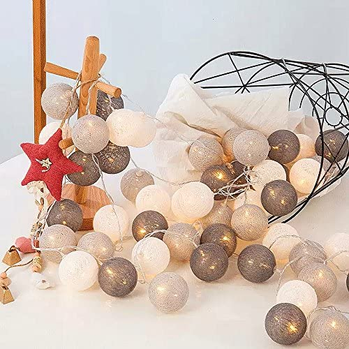 ELINKUME LED luces de hadas con 20 bolas de algodón,blanco cálido,Con pilas,Luces de la decoración de la linterna del para el día de fiesta de la boda del partido del balcón,tonos fríos
