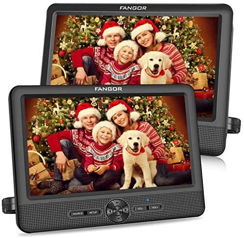 """FANGOR 10.1"""" Reproductor de DVD Portátil con 2 Pantallas para Reposacabeza de Coche 5 Horas de Duración Multiregion Soporta SD/USB Tarjeta con Mando a Distancia"""