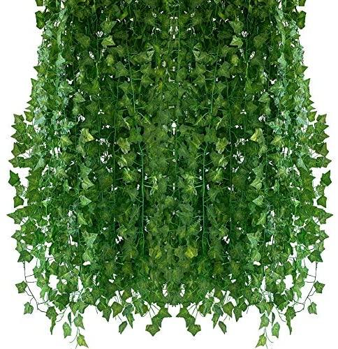 Homvik Plantas Hiedras Enredaderas Artificiales 12Pcsx2.4m Plantas Colgantes Artificiales Guirnalda para Decoración Exterior Boda Hogar Seto Jardín Escalera Ventana Balcón Valla Mesa Fiesta Interior