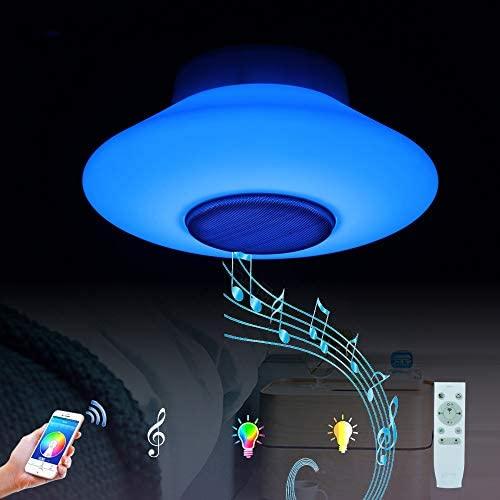 Horevo Lámpara Colgantes Moderna, Blanca Iluminación Colgante Música, Cambio de Color 30W Acrílico Lampara Techo, Control Remoto+ App, Altavoz Bluetooth, Regulable, Ø30cm, 2120Lumen