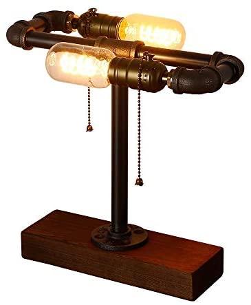 INJUICY Loft Madera Base Steampunk Lámpara Escritorio Hierro Tubo Lámpara de Mesa de Luz del Escritorio Lámpara de Mesilla Noche para Estudio de Luz Nocturna de la Cabecera