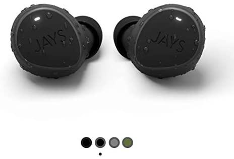 JAYS Auriculares Bluetooth inalámbricos – m-Seven – Negro/Gris – Earpods 38h de duración & con microfono