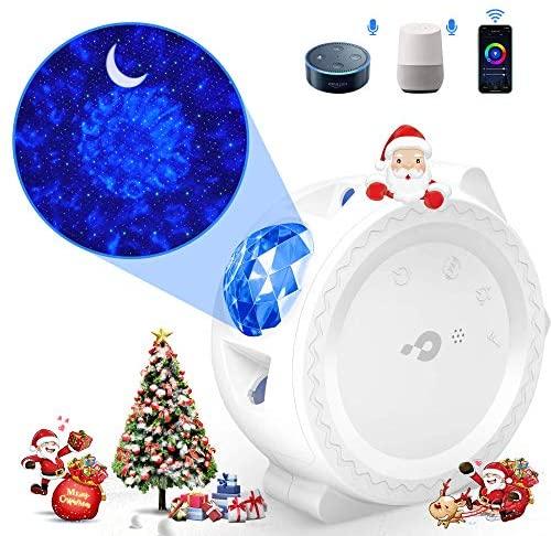 Lámpara Proyector Estrellas Bebe【WIFI inteligente】 Luz LED Nocturna con Agua Ola,LED Luna,Control Tactil o Por Voz Temporizador para Niños Adultos Halloween Acción Gracias Navidad Cumpleaños