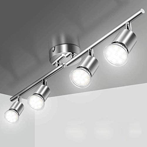 Lámpara de Techo LED Focos, Elfeland Plafón con Focos GU10 4 Luces para Ángulo Ajustable y Giratorio para Interior 110V-220V Focos de Techo Orientables para Dormitorio Cocina Baño (Sin bombillas)