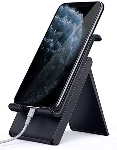 Lamicall Soporte Móvil, Multiángulo Soporte Teléfono – Soporte Dock Base para iPhone 12 Mini, 12 Pro MAX, 11 Pro, XS MAX, XS, XR, X, 8, 7, 6 Plus, SE, Samsung S10 S9 S8, Otras Smartphones – Negro