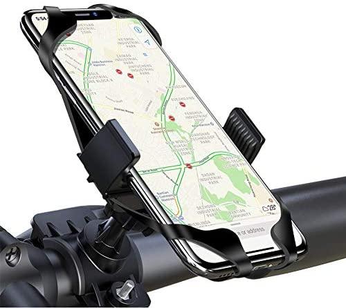 """LAYJOY Soporte Movil Bicicleta, Soporte Movil Bici, Bicicleta Montaña y Motocicleta, Silicona Ajustable 360° Rotación Teléfono Universal Manillar para iPhone/Samsung/Huawei/Xiaomi de 3.5""""-6.8""""(Negro)"""