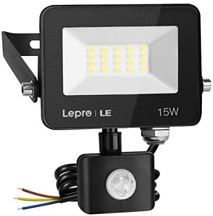 LE 15W Foco LED Exterior con Sensor Movimiento PIR, 1300 lumen, Foco LED Sensor IP65 Impermeable, Blanco Frío 5000 K, Ángulo de haz 120°, Foco LED Detector para Jardín, Garaje, Hotel, Patio, etc.