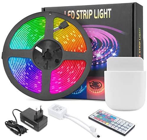 Mafiti Tira LED Multicolor, Luces LED RGB 5M. SMD 5050 con Control Remoto de 44 Botones, 150 LEDs de 20 Colores disponibles y 8 niveles de brillo. 6 opciones DIY para Habitaciones, Dormitorios