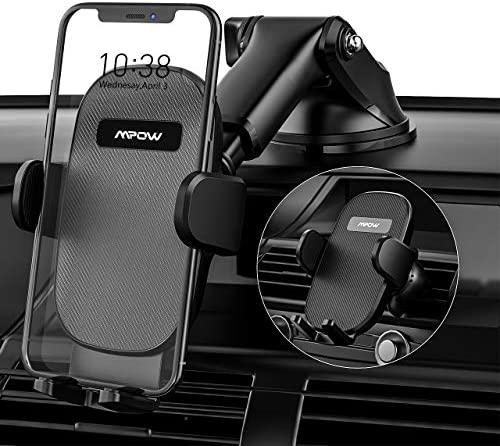 Mpow Soporte Móvil Coche, Soporte para Automóvil 3 en 1, Soporte para Teléfono Móvil Mejorado para Ventilación de Aire del Parabrisas del Salpicadero de Automóviles para iPhone 12/11/ 8/ Galaxy S20