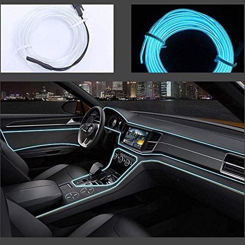 Neon LED EL cable para interior automotriz Cosplay lámpara de línea electroluminiscente LED emisora de luz decorativa con unidad de tira de luz 5V,Ice Blue, 1 m