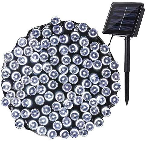 NEXVIN Guirnalda Luces Exterior Solar, Luces Navidad Blanco 22M 200 LED, Cadena de Luces Solares, Luces LED Decorativas Impermeable para Decorar Arbol, Patio, Jardín, Terraza, Boda
