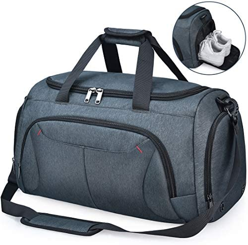 NUBILY Bolsa de Deporte Hombre Bolsas Gimnasio Mujer con Compartimento para Zapatos Bolsos de Viaje Grande Impermeable Deportivos Fin de Semana Travel Gym Bag 40L
