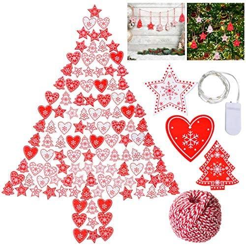 Outgeek 120PCS Adorno Colgante De La Navidad DIY Artesanía De Madera Colgando La Decoración para la Decoración de la Fiesta en Casa árbol de Navidad
