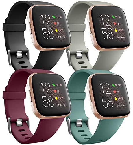 Ouwegaga Banda de Repuesto de Silicona Compatible con Fitbit Versa Correa/Fitbit Versa Lite Correa/Fitbit Versa 2 Correa, Grande Negro/Rojo/Gris/Verde Pino