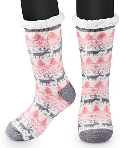 RenFox Mujer Hombre Navidad Calcetines Invierno Calentar Pantuflas de Estar Por Casa Super Suaves Cómodos Calcetines Antideslizante…