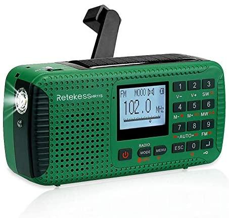 Retekess HR11S Radio Portátil Radio de Emergencia AM / FM / SW Camping Radio Radio Solar con Reloj Despertador Temporizador MP3 Reproductor Linterna Registrador SOS con Manivela (Verde)