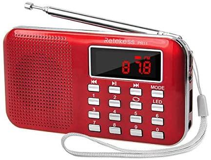 Retekess PR11 Radio FM/Am Sintonización Digital Portátil con Reproductor de Música MP3 Linterna (Rojo)
