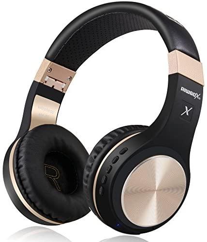 Riwbox XBT-80 sobre la Oreja con micrófono, Auriculares inalámbricos y con Cable para PC/teléfonos celulares/TV/iPad (Oro Negro)