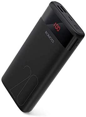 Romoss Bateria Externa Movil 20000mAh Compacto, Power Bank Pantalla LED 3 in y 2 Salidas Compatible Universal con Todos los Teléfonos Móviles