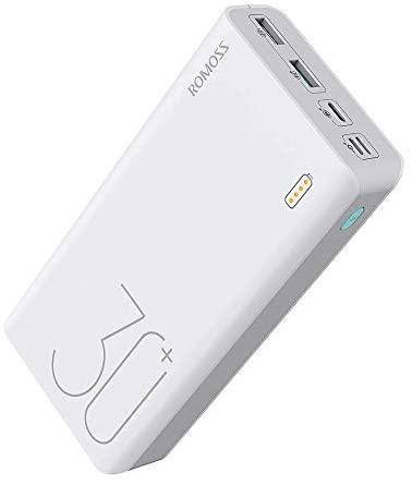 Romoss Batería Externa 26800mAh, 18W Power Bank Ultra Capacidad Carga Rápida Cargador Movil Portátil con 2 Puertos USB y 3 Entradas(Type C, Lighting, Micro USB) para Smartphones Tabletas y Más