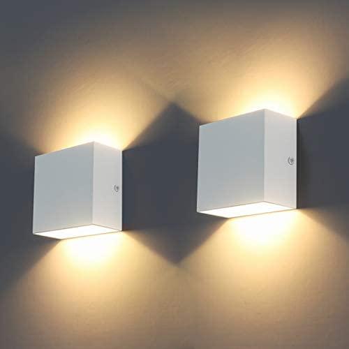 SOBROVO Luces de pared LED modernas para interiores para sala de estar, dormitorio y pasillo 2 piezas