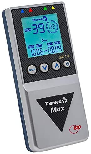 Tesmed MAX 830 electroestimulador muscular – 4 canales – EMS Y MASAJES TENS – 20 ELECTRODES – más de 200 tratamientos – recargable -patente Waims System ondas secuenciales