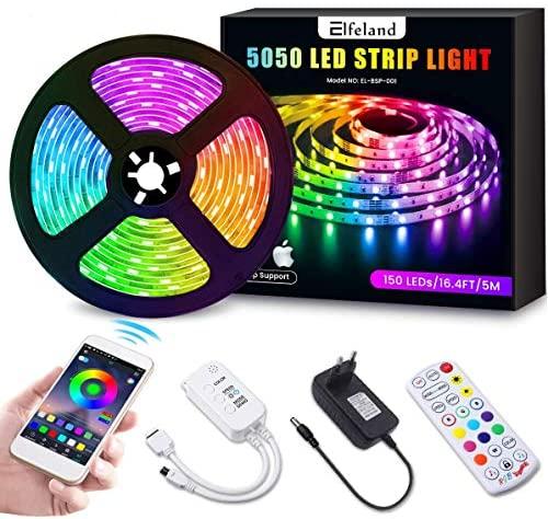Tiras LED 5M Bluetooth, Elfeland Tiras de Luces RGB 5050 SMD 16.4ft 12V Control por APP y Control Cemoto 24 Teclas Función de Música Inteligente Strip LED Decoración para Hogar Salón Fiesta Cucina