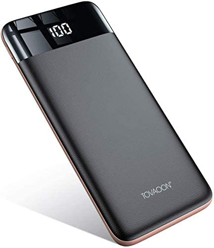 TOVAOON Portátil Powerbank inalámbrico,10000mAh, Carga Rápida Banco de energía, con pantalla LED de pantalla completa, (3 USB, 5V 2A) para iPhone iPad Samsung Móviles Inteligentes y Tabletay Más