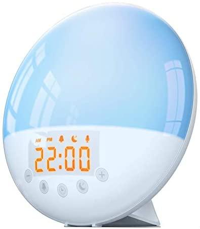 Wake Up Light Alarm Clock – Despertador de simulación de amanecer y atardecer, 30 brillos, función de repetición, 8 sonidos naturales y radio FM para adultos y niños