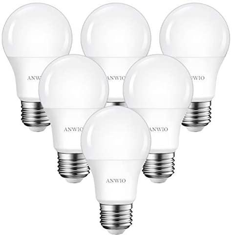 6 Unidades 8W Bombillas LED E27, 806 Lúmenes, 6500K Blanco Frío, A60 No Regulable -ANWIO.