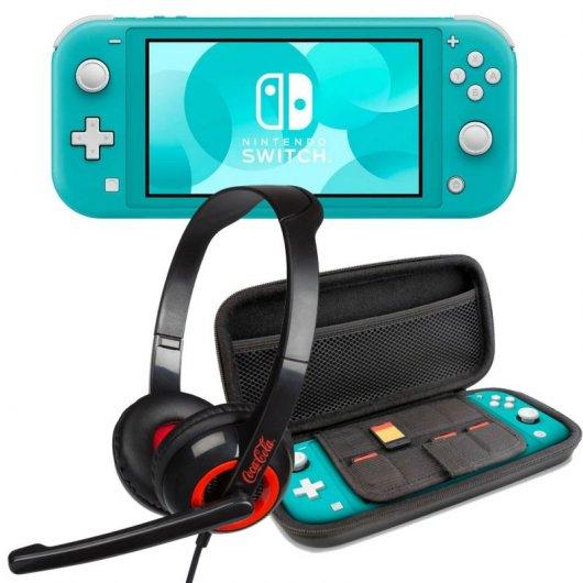 Nintendo Switch Lite Azul Turquesa + Set Transporte Gris + Headset
