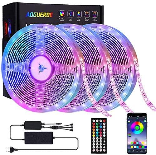 AOGUERBE Tiras LED 15M, Tira de Luz de Cambio de Color de Música con Control Remoto 44 Teclas Control Remoto IR 5050 Kit de Tira de Luz LED RGB para Hogar, Fiesta, Cocina TV-APP controlada