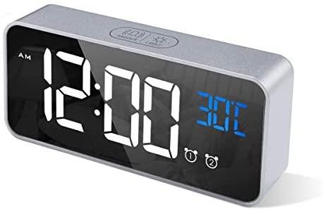 CHEREEKI Reloj Despertador Digital, Despertador Alarma Dual Digital Alarm Clock con Temperatura, 4 Brillo Ajustable Función Snooze, Puerto de Carga USB, 12/24 Horas, 16 música (Azul)