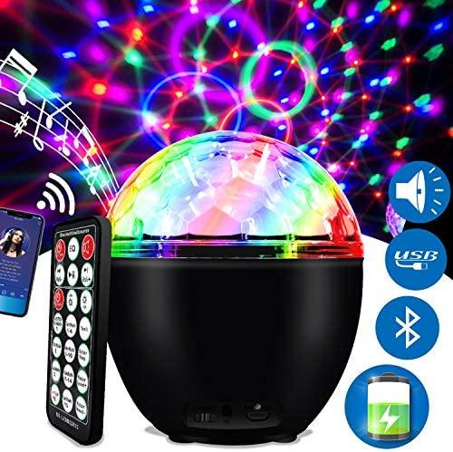 ENONEO Luces Discoteca 16 Colores Bola Discoteca con Cable USB LED Giratoria Luz de Fiesta Bola Fiesta Escenario con Bluetooth Control Remoto para Cumpleaños Discoteca Fiesta Bar Navidad Bodas (Black)