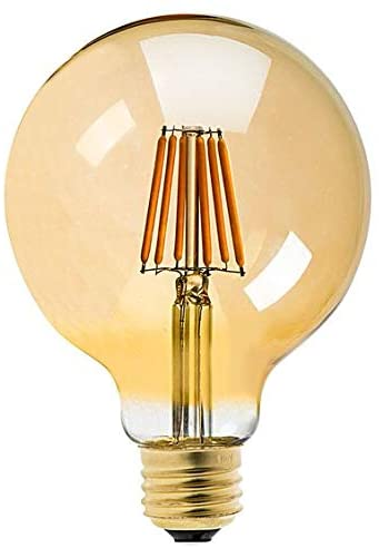 ilumini Bombilla LED G125 VINTAGE COBRE FILAMENTO, CASQUILLO E27, 6.5W equivalente a 50w,3000K Luz Cálida, 650 Lúmenes [Clase de eficiencia energética A+]