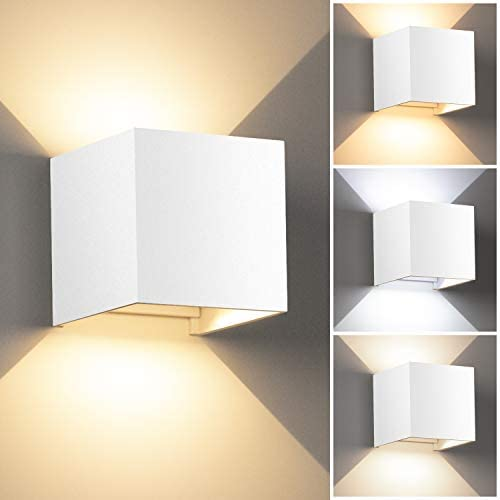 LEDMO Lamparas pared led Moderna de Angulo de Haz Ajustable, Apliques Pared Exterior/Interior Impermeable IP65 Aplique led 3 colores