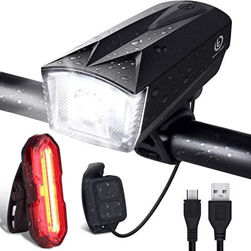 OMERIL Luces Bicicleta Delantera y Trasera Linterna Bicicleta Recargable, IP65 Resistente con 6 Modes, Bocina y Luz para Carretera y Montaña, Control Remoto