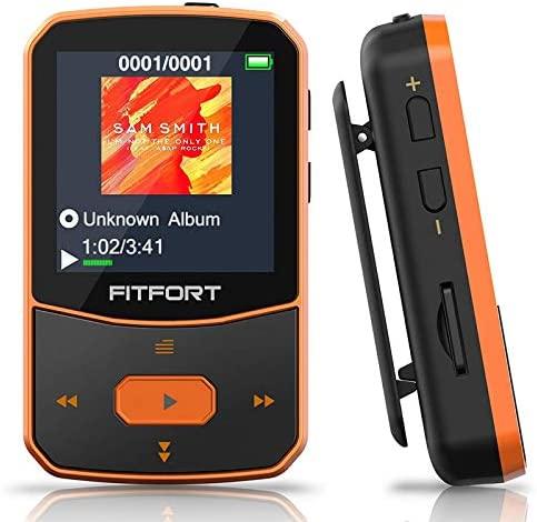 Reproductor MP3 Bluetooth 5.0 – MP3 Bluetooth Running, Sonido de Gama Alta, Radio FM, Grabación de Voz, E-Book, Podómetro, Pantalla de Color de 1.5 Pulgadas, Soporte hasta 128GB Tarjeta