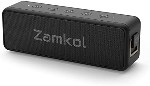 Zamkol Altavoz Bluetooth 5.0 IPX7 Impermeable 24H de Reproducción 20W Bajo Pesado Emparejamiento Estéreo Inalámbrico EQ Altavoz Portátil para Exteriores Micrófono Incorporado con Cable AUX de 3.5mm