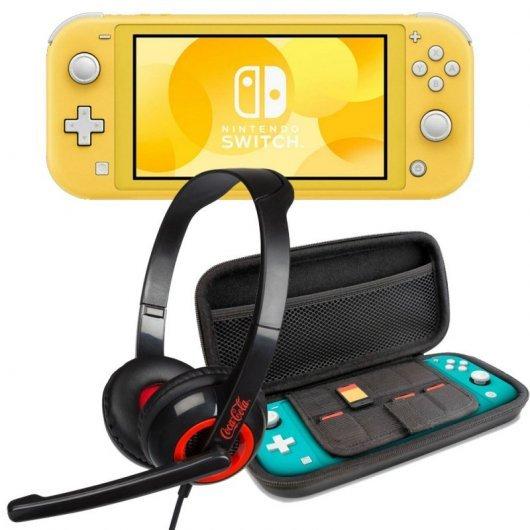 Nintendo Switch Lite Amarillo + Set Transporte Azul + Headset