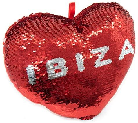 APEX GIFTS – San Valentín – Cojín con Forma de Corazon de Lentejuelas y Reversible – Ibiza