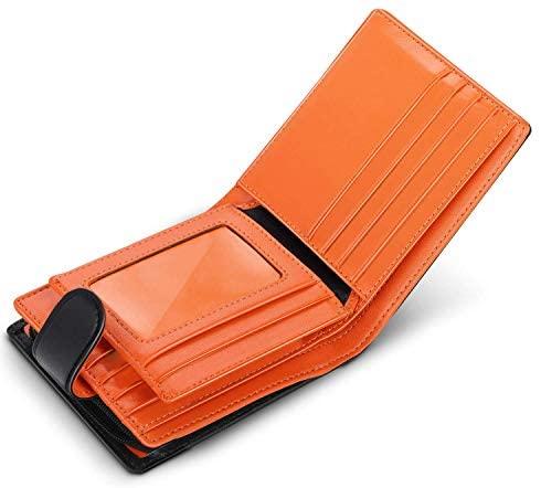 wilbest® Billetera de Hombre de Piel, Cartera RFID, Carteras Hombre con Monedero – Bloque 13.56 MHz, Cartera Personalizada Función de 4 en 1, Botón Diseño de Bolsillo con Cremallera, Negro Naranja