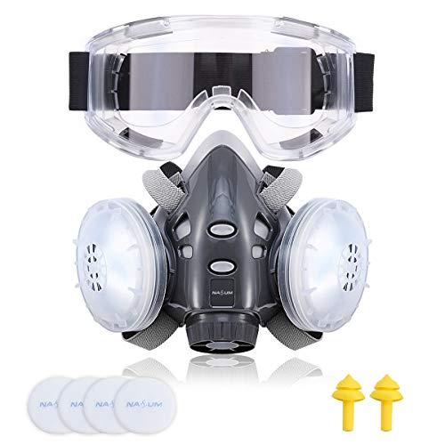 Facial Cubierta, NASUM Facial Cubierta Antipolvo, Filtro de Protección, A Prueba de Polvo, Reutilizable a Media Cara, para Trabajo en Aerosol/Pintura